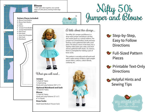 "Nifty 50's Jumper and Blouse 18"" Doll Clothes"
