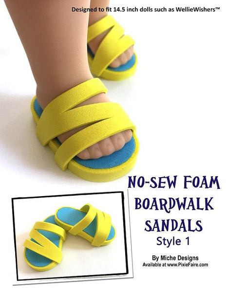0df0bbe8ae55 Miche Designs No-Sew Boardwalk Sandal 3-Pack Doll Clothes Pattern  WellieWishers Dolls