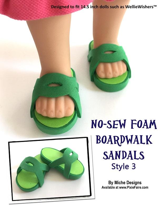 263665b83 ... pdf sewing pattern no sew foam boardwalk sandals designed to fit 18  inch American Girl dolls ...