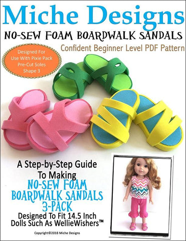 pdf sewing pattern no sew foam boardwalk sandals designed to fit 18 inch American Girl dolls