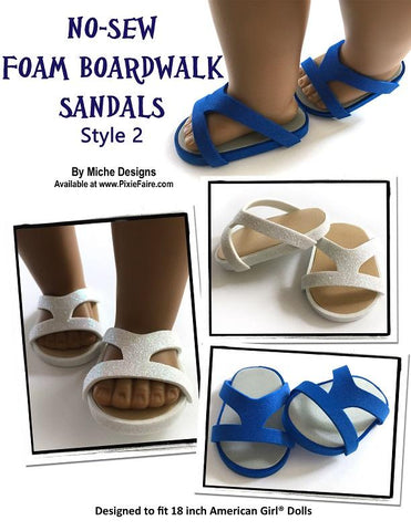 PDF doll clothes sewing pattern 3 pack no sew foam boardwalk sandals designed to fit 18 inch American Girl dolls