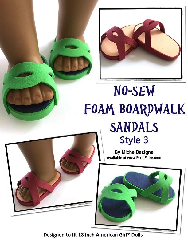 700de5310 ... PDF doll clothes sewing pattern 3 pack no sew foam boardwalk sandals  designed to fit 18 ...