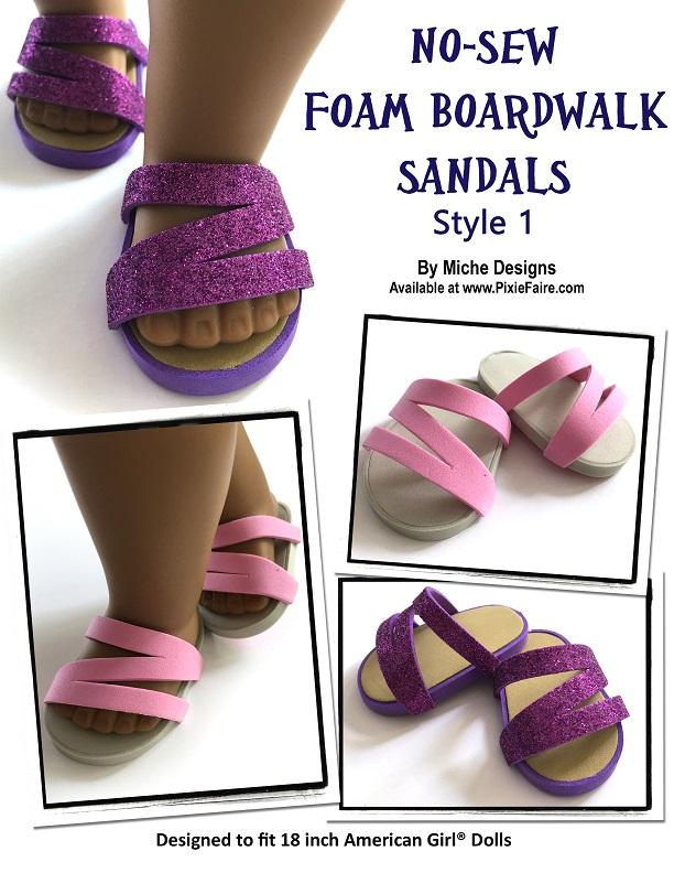 99f77d940 ... PDF doll clothes sewing pattern 3 pack no sew foam boardwalk sandals  designed to fit 18