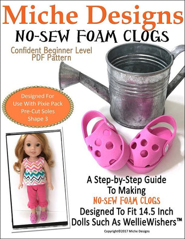 "No-Sew Foam Clogs 14.5"" Doll Clothes Pattern"