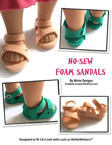 PDF doll clothes sewing pattern No Sew Foam Sandals Birkenstock sandals designed to fit 14.5 inch WellieWishers dolls
