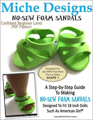 PDF doll clothes sewing pattern No Sew Foam Sandals Birkenstock sandals designed to fit 18 inch American Girl dolls