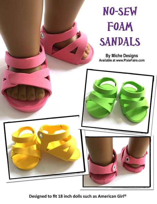 Miche Designs No-Sew Foam Sandals Doll Clothes Pattern 18