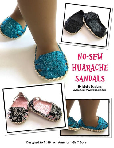 PDF doll shoe pattern No-Sew Huarache Sandals designed to fit 18 inch American Girl dolls