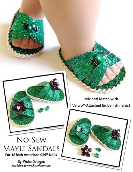 No Sew Mayli Sandals 18 Inch Doll Shoes Pdf Pattern