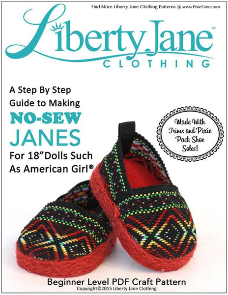 Liberty Jane No Sew Janes Doll Clothes Pattern 18 Inch