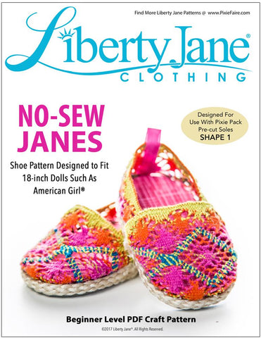 "Liberty Jane Shoes No Sew Janes 18"" Doll Shoes Pixie Faire"