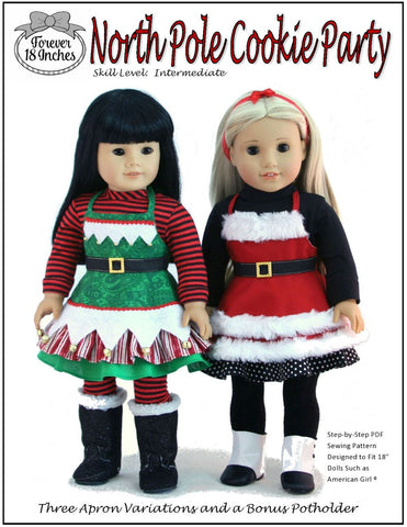 "North Pole Cookie Party 18"" Doll Clothes Pattern"