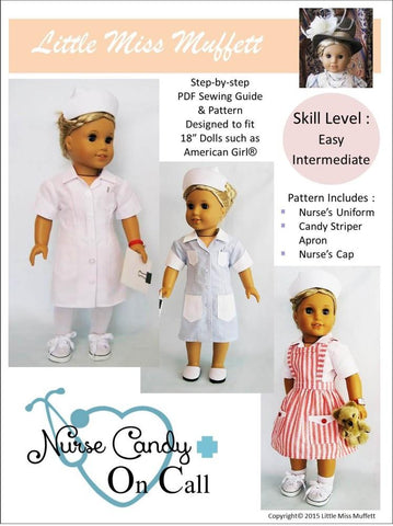 "Little Miss Muffett 18 Inch Historical Nurse Candy - On Call 18"" Doll Clothes Pattern Pixie Faire"