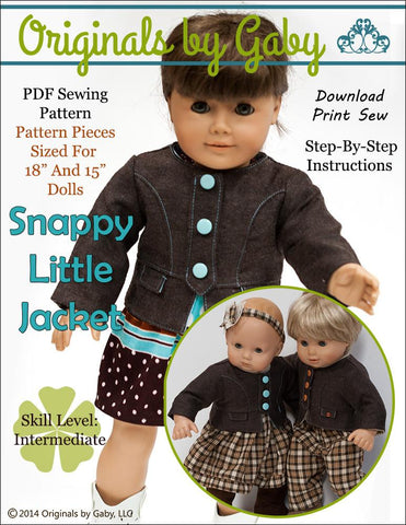 "Baby Mine 18 Inch Modern Snappy Little Jacket Bundle 15"" and 18"" Doll Clothes Pattern Pixie Faire"