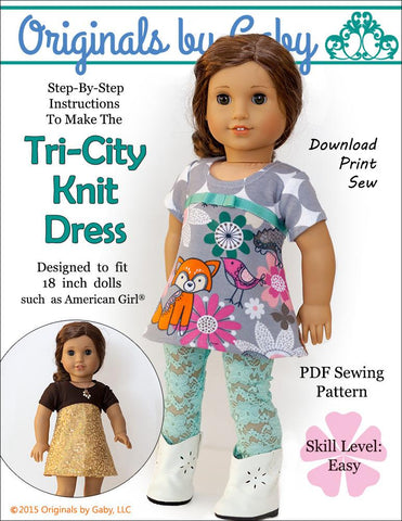 "Originals by Gaby 18 Inch Modern Tri-City Knit 18"" Doll Clothes Pattern Pixie Faire"