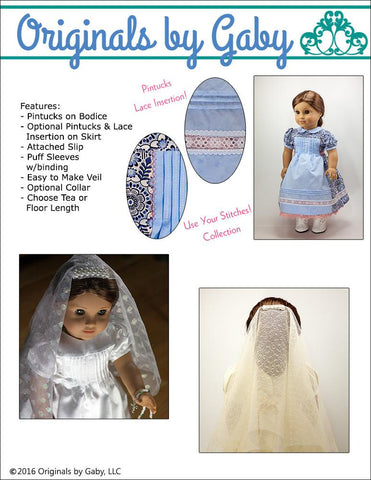 "Pintucks and Lace 18"" Doll Clothes Pattern"