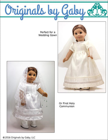 "Originals by Gaby 18 Inch Modern Pintucks and Lace 18"" Doll Clothes Pattern Pixie Faire"