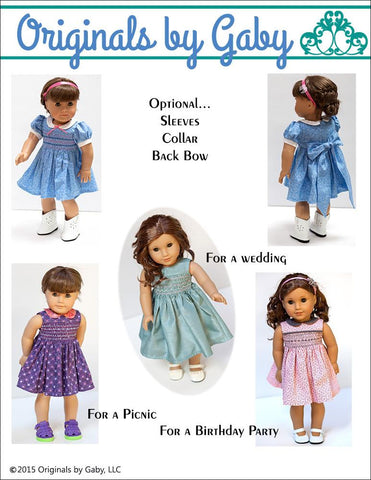 "Smocked Dress 18"" Doll Clothes Pattern"