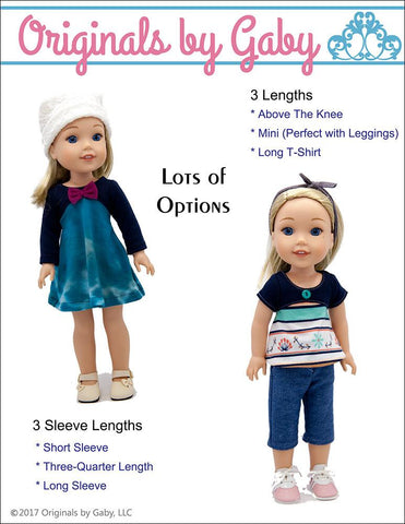 "Originals by Gaby WellieWishers Tri-City Knit Dress 14-14.5"" Doll Clothes Pattern Pixie Faire"
