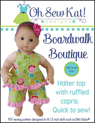 "Boardwalk Boutique 15"" Doll Clothes Pattern"