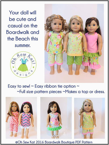 "Boardwalk Boutique Halter Top & Capris 18"" Doll Clothes Pattern"