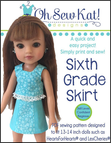 Sixth Grade Skirt Pattern for Les Cheries and Hearts for Hearts Girls Dolls