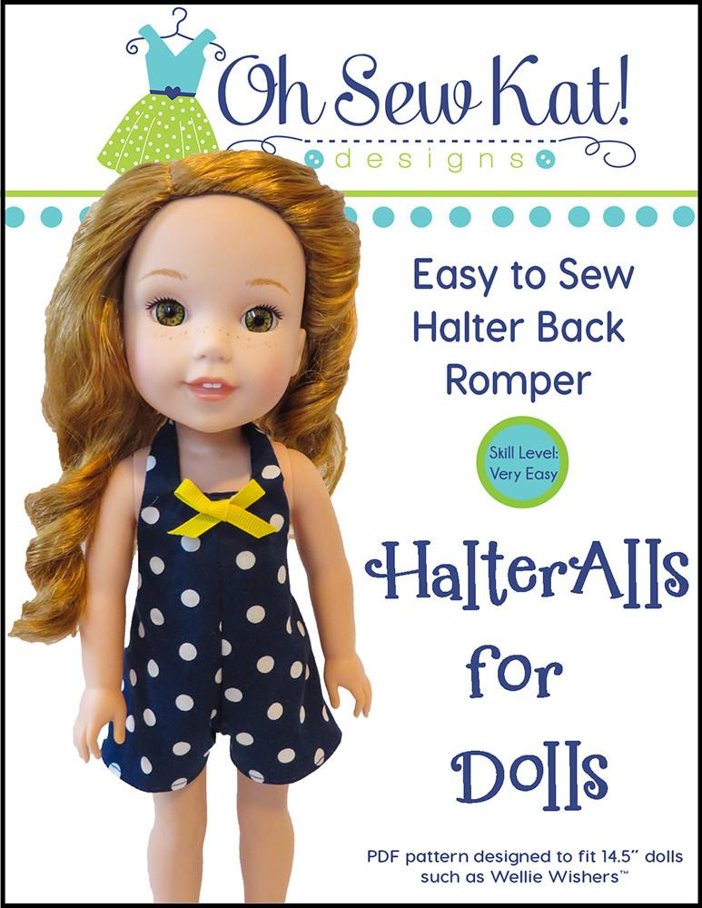 Oh Sew Kat HalterAlls For Dolls Doll Clothes Pattern WellieWishers Fascinating Wellie Wishers Clothes Patterns