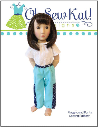 Oh Sew Kat Playground Pants PDF doll clothes sewing pattern designed to fit 16 inch A Girl For All Time dolls