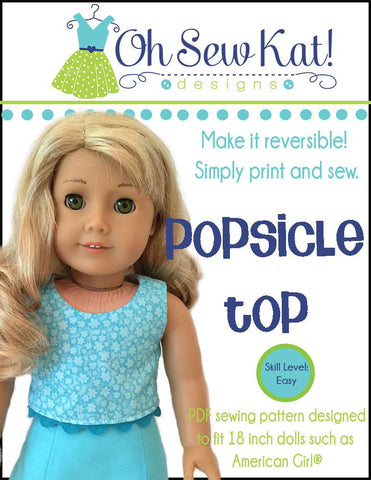 "Oh Sew Kat 18 Inch Modern Popsicle Top 18"" Doll Clothes Pattern Pixie Faire"