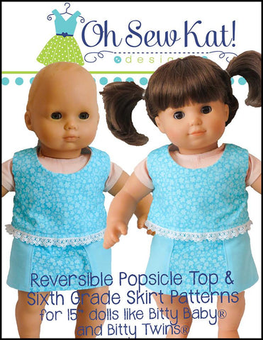 "Sixth Grade Skirt 15"" Doll Clothes Pattern"