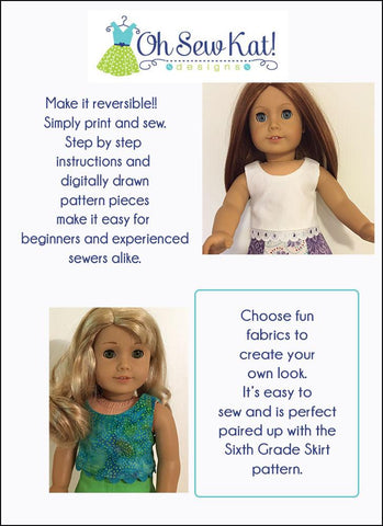 "Popsicle Top 18"" Doll Clothes Pattern"