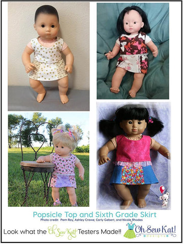 "Popsicle Top 15"" Doll Clothes Pattern"