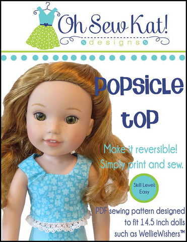 "Popsicle Top 14.5"" Doll Clothes Pattern"