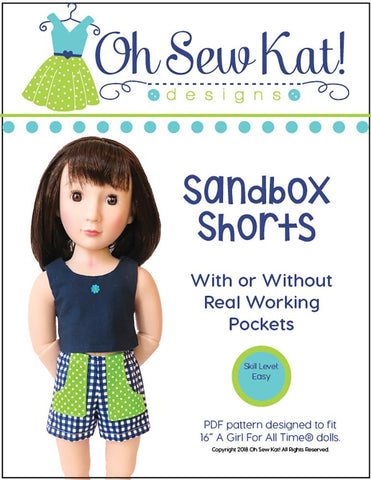 Oh Sew Kat A Girl For All Time Sandbox Shorts Pattern For AGAT Dolls Pixie Faire