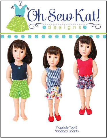 pdf doll clothes sewing pattern Oh Sew Kat Sandbox Shorts designed to fit 16 inch A girl For All Time dolls