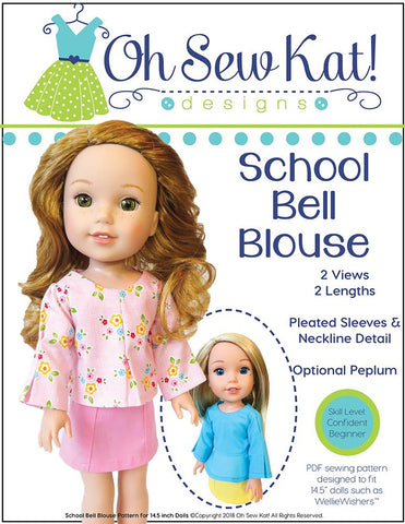 pdf doll clothes sewing pattern Oh Sew Kat Bell School Bell Blouse designed to fit 14.5 inch WellieWishers dolls