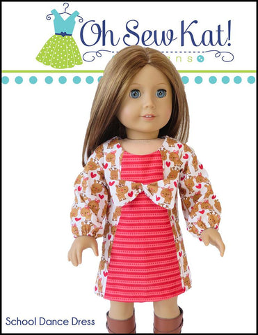 "School Dance Dress 18"" Doll Clothes Pattern"
