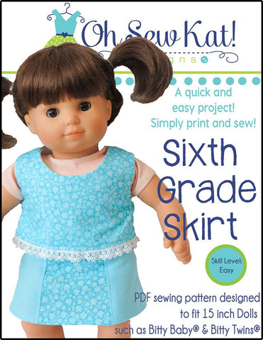 "Sixth Grade Skirt 15"" Baby Doll Clothes Pattern"