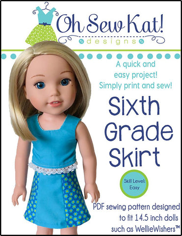 "Sixth Grade Skirt 14.5"" Doll Clothes Pattern"
