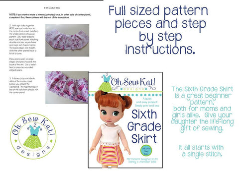 Sixth Grade Skirt Pattern For Disney Animator Dolls