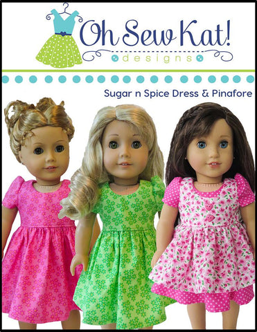 "Sugar n Spice & Everything Nice Dress & Pinafore with Dress Up Accessories 18"" Doll Clothes"