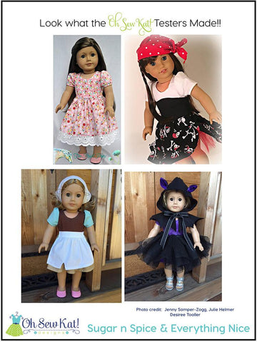 "Sugar n Spice & Everything Nice Dress & Pinafore with Dress Up Accessories 18"" Doll Clothes Pattern"