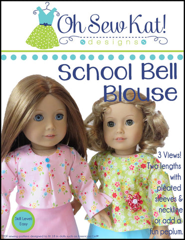 "School Bell Blouse 18"" Doll Clothes Pattern"