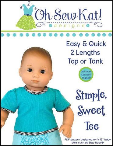 "Simple Sweet Tee 15"" Doll Clothes Pattern"