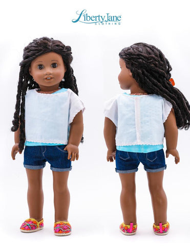 "Off The Shoulder Tee 18"" Doll Clothes Pattern"