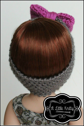 "Olivia Earwarmer with Bow Knitting Pattern for Girls and 14-16"" Dolls"