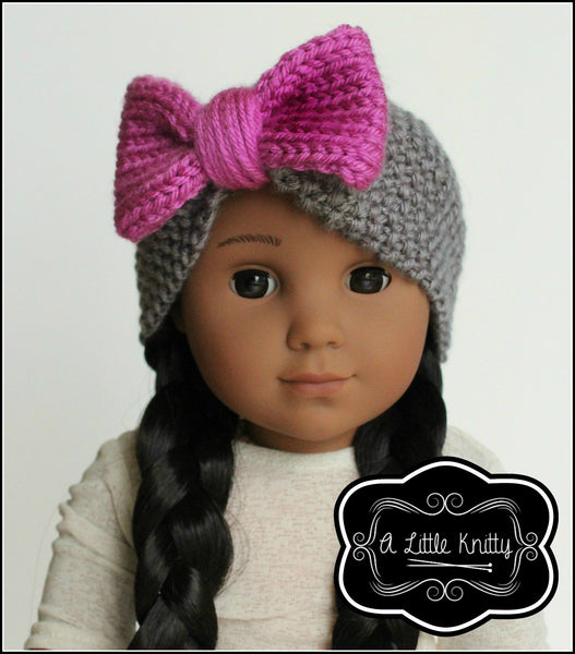 A Little Knitty Olivia Earwarmer With Bow Doll Clothes