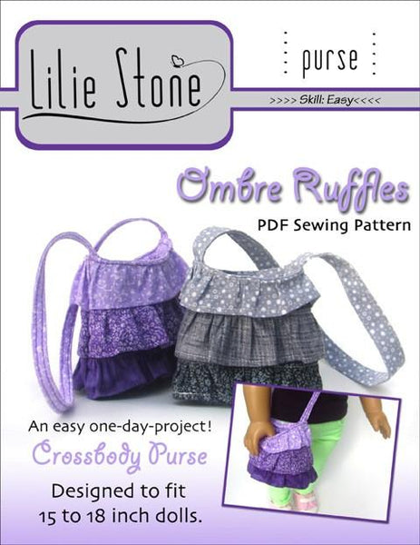 Lilie Stone Ombre Ruffles Purse Doll Clothes Pattern 18