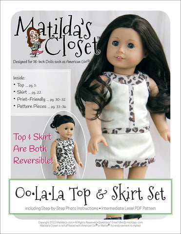 "Oo-La-La Top & Skirt Set 18"" Doll Clothes Pattern"