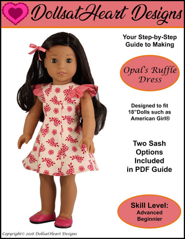 pdf doll clothes sewing pattern Dolls At Heart Designs Opals Ruffle Dress designed to fit 18 inch American Girl dolls